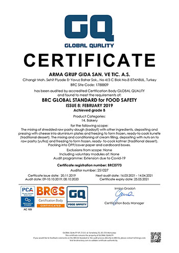 GLOBAL STANDART FOR FOOD SAFETY (BRC)